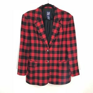 Gap Womens Buffalo Plaid Blazer Wool Size Medium